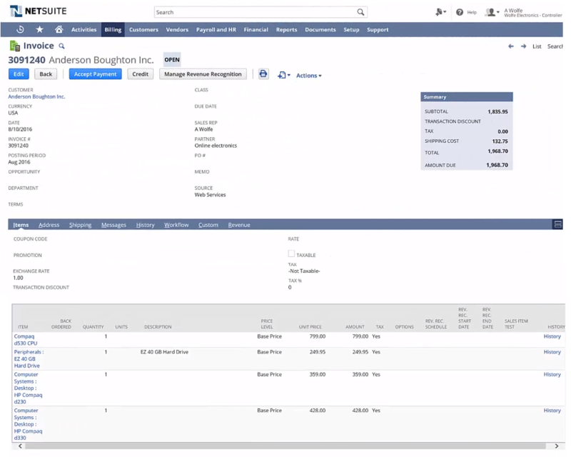 Invoice in NetSuite